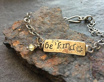 simple truths - be kind - sterling silver and chrysoberyl