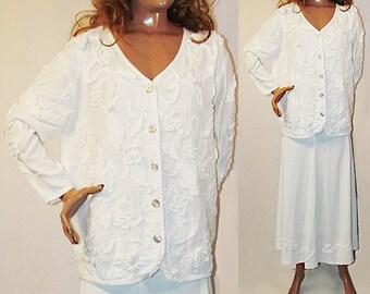 Femmes blanc jupe tailleur vanté Maxi jupe agrémentée Cardigan veste mariage église tenue costume