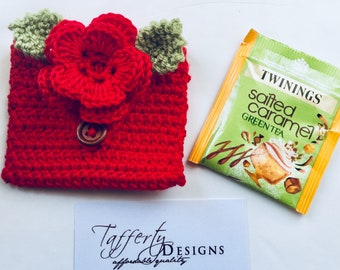 Crocheted Tea Travel Purse / Tea Purse / Tea bag Holder / Tea Wallet - in Pure Cotton - Red