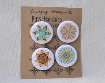 Mandala Design, pin button badges, magnets hand drawn illustrations