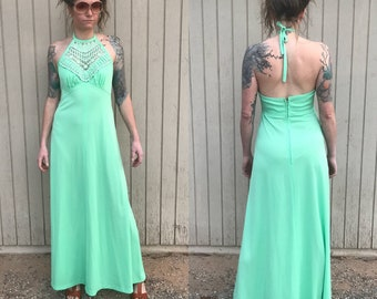 70's Pale Crochet Halter Maxi Dress