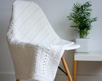 Cream Crochet Baby Pram/Stroller Blanket
