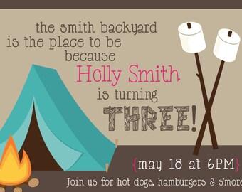 Campfire Birthday Invitation