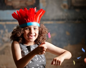 S A L E !!! kids feather headband ++ red & turquoise ++ party