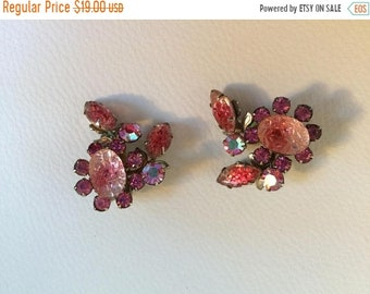 Signed Judy Lee Pink Rhinestone Clip On Earrings