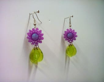 Fairy Girl Dangle Earrings * Flowers * Floral Springtime Hook Style Earrings with Leaves