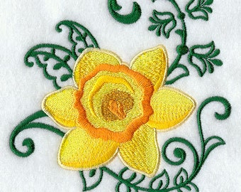 Daffodil Echo Flowers Embroidered Flour Sack Hand/Dish Towel