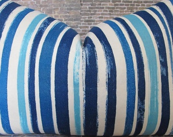 Outdoor Pillow Cover - TBLC Stripe Blue