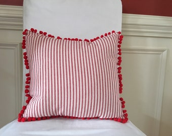 Ticking Pillow Cover Red Ticking Pillow Cover Throw Pillow PomPom Pillow