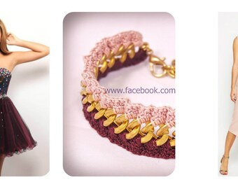 crochet bracelet crocheted pink bordo wine faux gold chain 100% pure cotton thread uk
