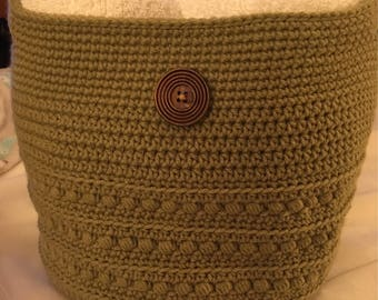 Large crocheted basket with handles