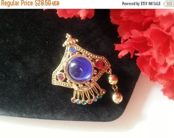 ON SALE Blue Rhinestone Brooch, Very Unique Pin, 1970's 1980's Vintage Accessories, Vintage Jewelry
