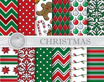 CHRISTMAS Digital Paper Downloads / Printable Christmas Patterns / Holiday Digital Paper Patterns / Printable Scrapbook Paper Illustrated