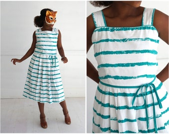Versatile Vintage White and Teal Striped Sleeveless Day Dress with Matching Cropped Tank by Lanz Originals | Small