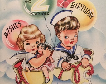 Vintage Birthday Card Two Year Old Sailor NOS Unused WWll Era
