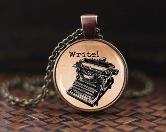 Old Typewriter necklace, Vintage Typewriter pendant, Old Typewriter jewelry, Writer necklace, gift for Writer, glass dome pendant