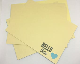 Hello - Hand Stamped Flat Cards (set of 10) with Matching Envelopes / Hello Card Set / Just Because / Notecards