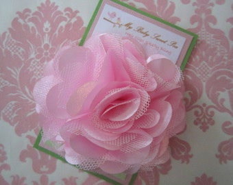 Girl hair clips - pink flower hair clips - girl barrettes