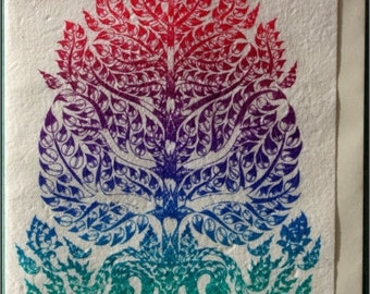Thai tradition art of bodhi tree by silkscreen printing on Mulberry paper Card
