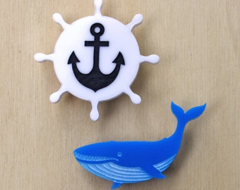Maritime brooch set - blue whale and anchor wheel