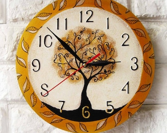 Magic Tree Wall Clock, Modern wall clock, gold wall clock, wood clock, white home decor, wedding gift, for Office, bedroom style.