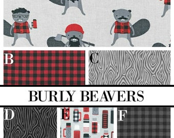 Crib Bedding Burly Beavers Lumberjack Buffalo Plaid Wood Grain Woodland Gray Red Black Grey Baby Boy Crib Bedding
