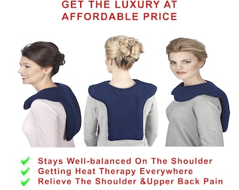 Microwave Heat Pack For Shoulder Neck Upper Back, Blue, Hot Cold Heating Pad, Washable, Heat Pad for Back Pain Relief, Hot & Cold Therapy