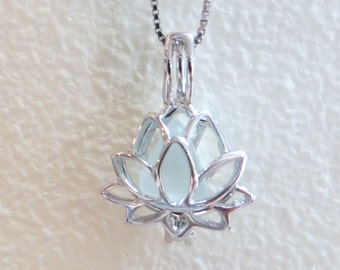 Pale Aqua Sea Glass Sterling Silver Lotus Flower Locket by Wave of LIfe