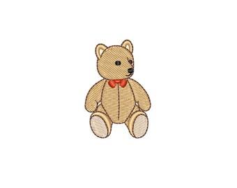 Mini Vintage Teddy Bear machine embroidery design. Retro teddy bear machine embroidery pattern. 3 sizes (4x4 hoop) Instant download