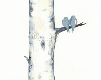 Blue Gray Birch Tree Love No. 3,  Love Birds , Romance , watercolor print, Archival, wall art