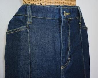 """90s Dark Wash Stretch Denim Jeans Tall Women 33"""" Inseam Unworn"""