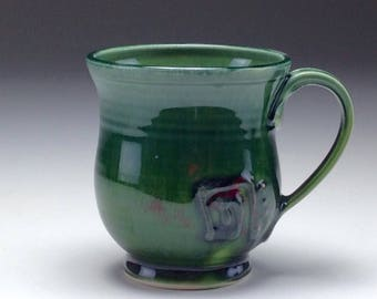 Handmade ceramic tea cup/ dark forest green/ shiny glaze/ small coffee mug/ wheel thrown/ porcelain coffee mug/ Gabriel Kline pottery