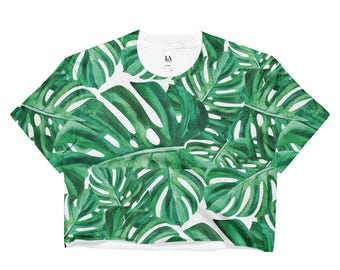 Ladies Monstera Crop Top