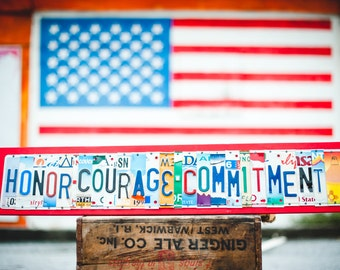 Honor Courage Commitment - OOAK License Plate Art, Christmas gift, Military Core Values - Home Decor Wall Hanging