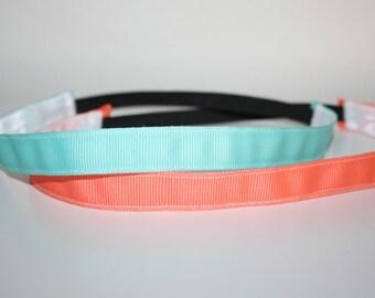 "Aqua. Bright. Simple. Hankband - 5/8"" Hankband - Aqua Non-Slip Headband - Workout Headband"