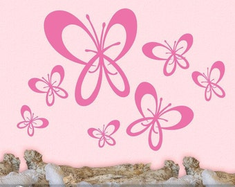 Girls Room Butterfly Decor, Butterfly Decal Stickers, Self Adhesive Wall Decor, 7 Whimsical Butterfly Wall Decals (001710d1v)