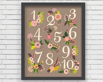 Home Decor Nursery Wall Art - Floral Numbers Print (warm gray) - 8x10 or 11x14