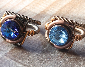 Steampunk Jewelry - 2 Rings - CatherinetteRings 8th anniversary special (Custom size available - see description)