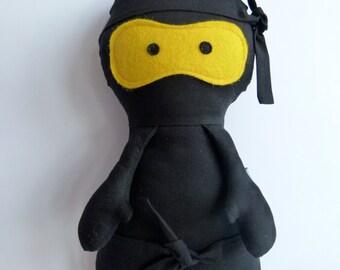 Ninja handmade fabric doll - BLACK NINJA