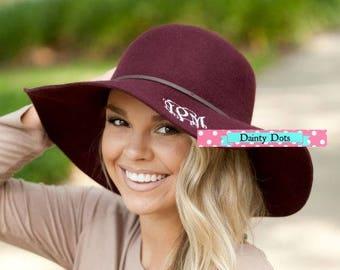 Burgundy Wool Floppy Hat with Monogram   Monogram Floppy Hat   Winter Hat   Monogram Wool Floppy Hat   Fashionable Wool Hat  