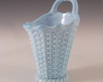 Sowerby Victorian Blue Milk Glass Spill Vase - Marked