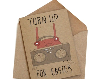 Funny Easter Bunny Card/ hip hop Easter Card/ pop culture Easter card/ pig dj Easter card/ bunny dj Easter card/ Easter cards handmade