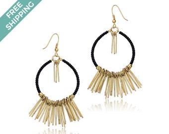 Black Bead & Gold Wire Earrings