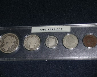 1893 Circulated Coin Year Set  - Vintage coin set