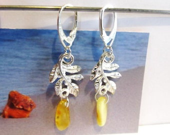 Amber Leaves Earrings 3.4 gr. Natural Baltic Genuine Real drop opaque yellow egg yolk polished Silver color french clasp raw stones