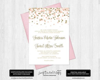 Blush Pink and Gold Wedding Invitation Elegant Pink and Gold Glitter Confetti Digital File or Prints Wedding Announcement