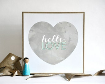 Special Collection - Hello, Love Typography Watercolor Art Print - mint, gold & grey wood mounted wall art