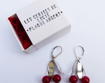 Silver plated, red cherries earrings