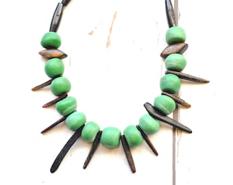 Fair Trade Recycled Glass Bead Necklace - Green Bead Tribal Necklace - Ghanian Bead African Necklace - Wood Bead Ethnic Necklace - Ethical