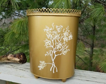Ransburg Gold Oval Metal Trash Can with Hand Painted Flowers